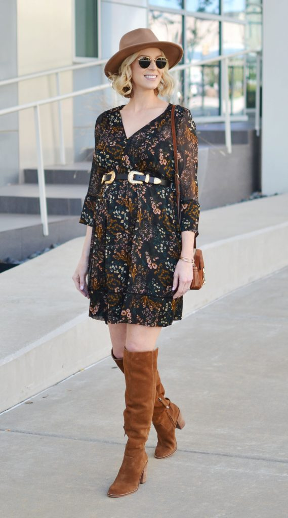 bohemian floral dress with over the knee boots and a hat, black and tan, fall outfit idea, stylish maternity outfit