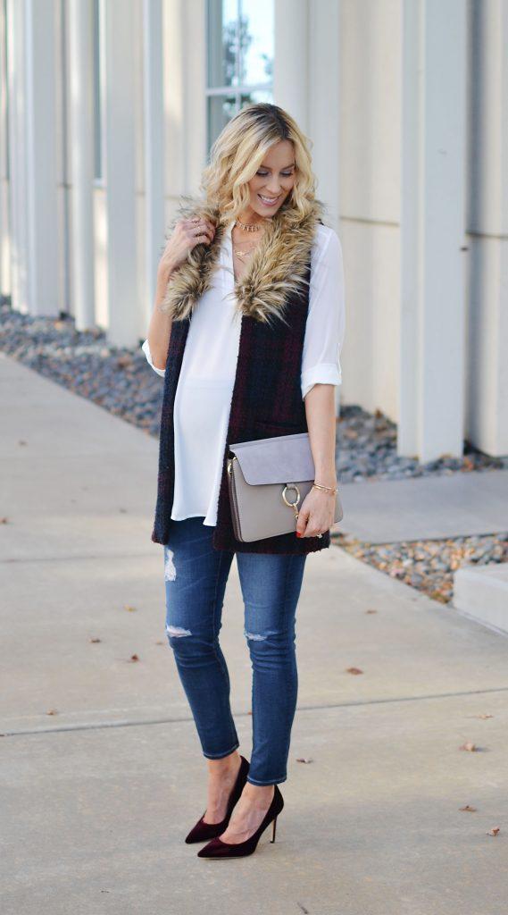 plaid vest, white tunic top, burgundy velvet heels, distressed denim