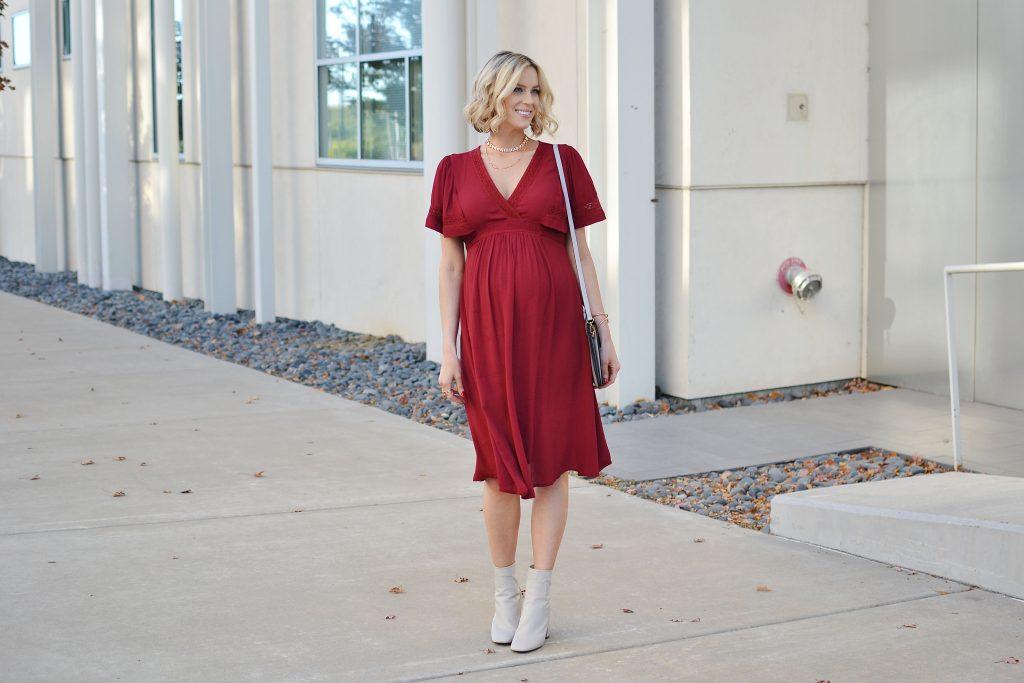 red kimono style dress, cream boots, Kendra Scott winter 2016 collection, stylish maternity outfit, maternity style