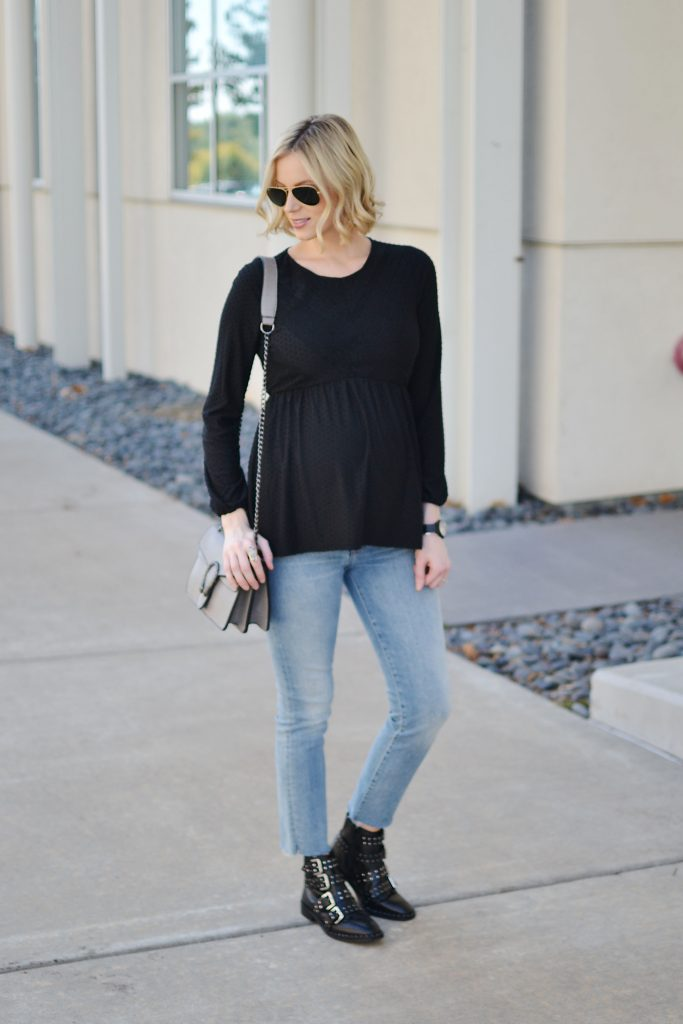 modern denim, black buckle boots, edgy maternity outfit, stylish maternity look, Gucci dup bag, black top
