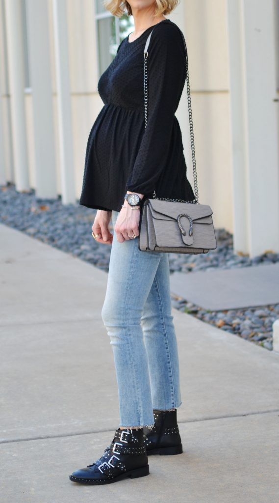 modern denim, buckle boots, edgy maternity outfit, stylish maternity look, Gucci dup bag