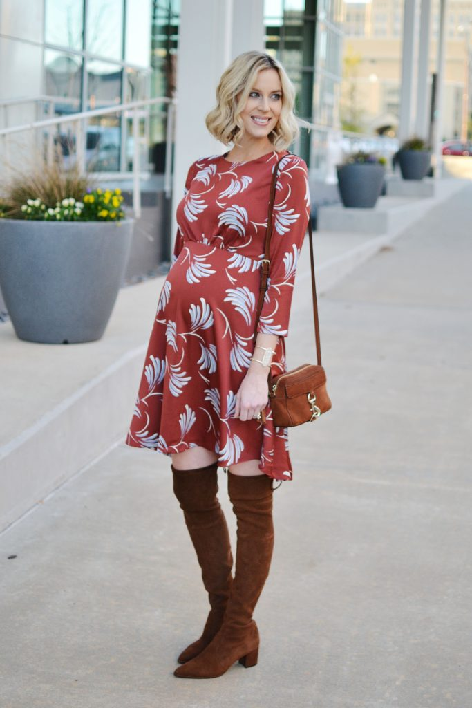 rust colored dress, brown over the knee boots, Glo minerals makeup, holiday giveaway, stylish maternity outfit idea, fall outfit idea
