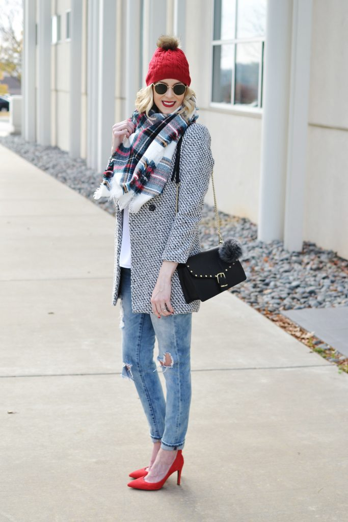 12 days of Christmas giveaways with Rebecca Minkoff, holiday outfit idea. blanket scarf, red, winter outfit