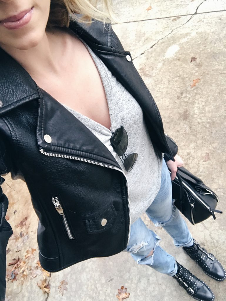 easy mom style outfit, buckle boots, leather moto jacket, distressed denim