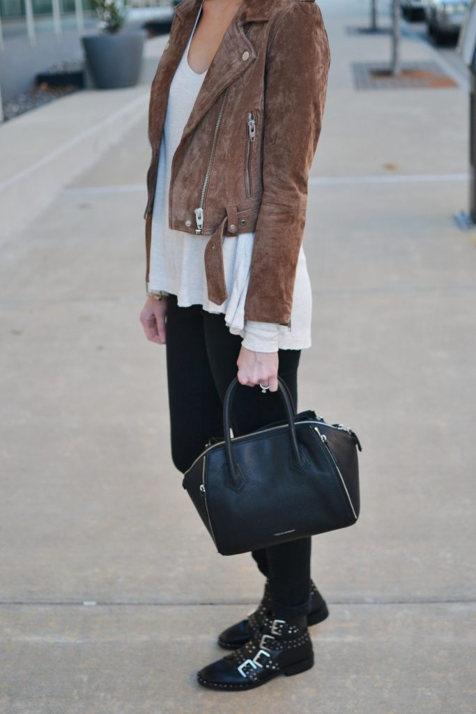 my favorite pieces - black jeans, suede moto, thermal, buckle booties, easy casual outfit
