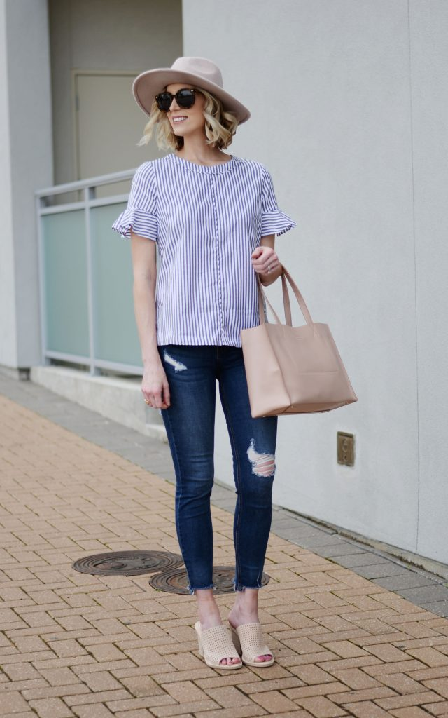 easy spring outfit, Banana Republic flutter sleeve top, distressed jeans, perforated mules, blush hat, blush tote