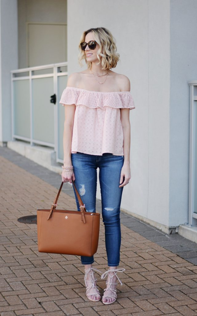 pink off the shoulder eyelet top, AG legging ankle jean, Tory Burch tote, rebecca minkoff lace up carmela lace up sandal, spring outfit idea, jeans and a top