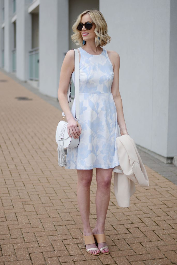 Feminine Floral Blue and White Dress