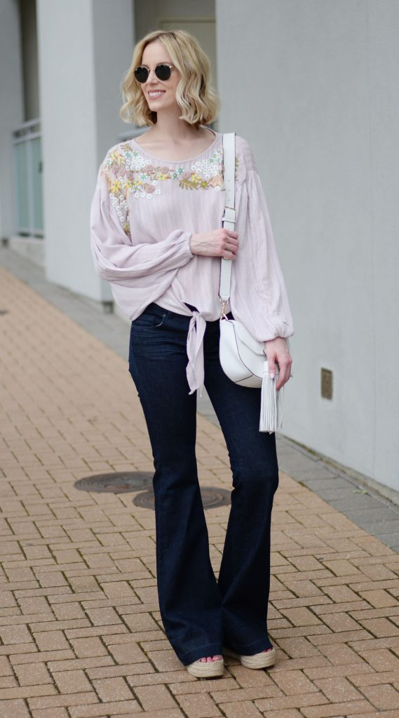 embroidered tie front blouse, flares, espadrille wedges, boho