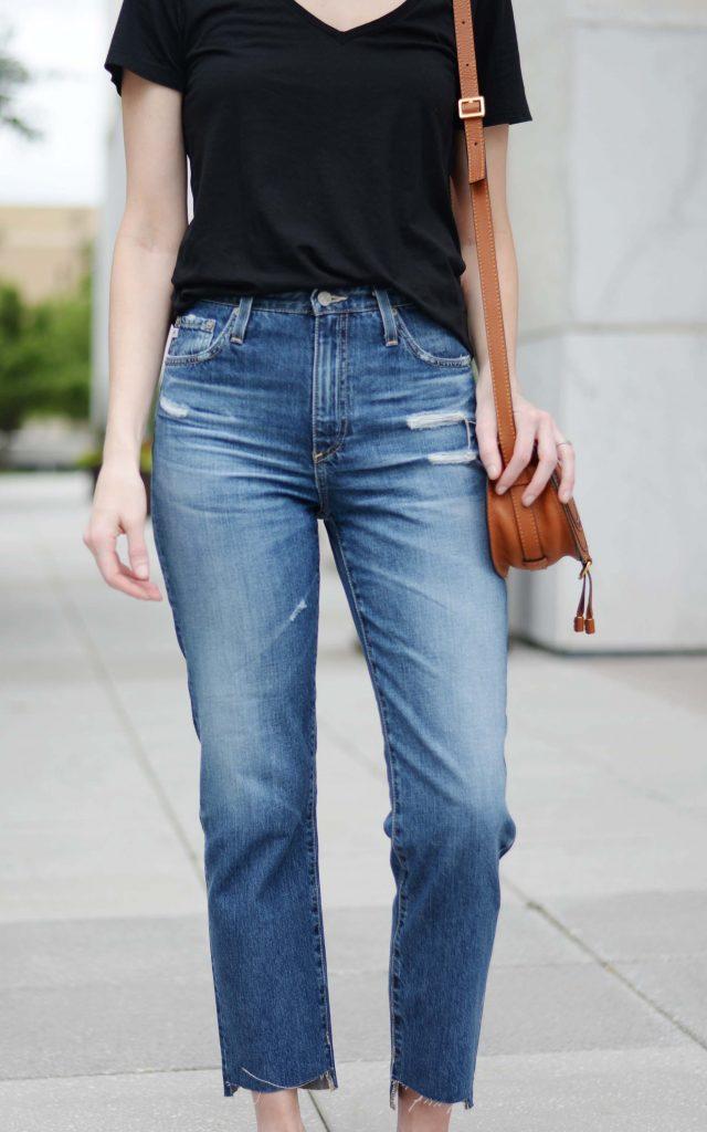 the jeans of the summer, AG semi-annual sale, AG phoebe jeans, n neck tee, Chloe marcie bag