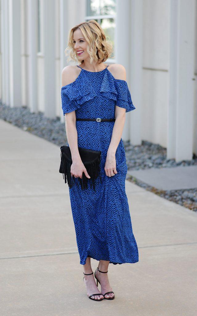 cold shoulder ruffle sleeve maxi dress