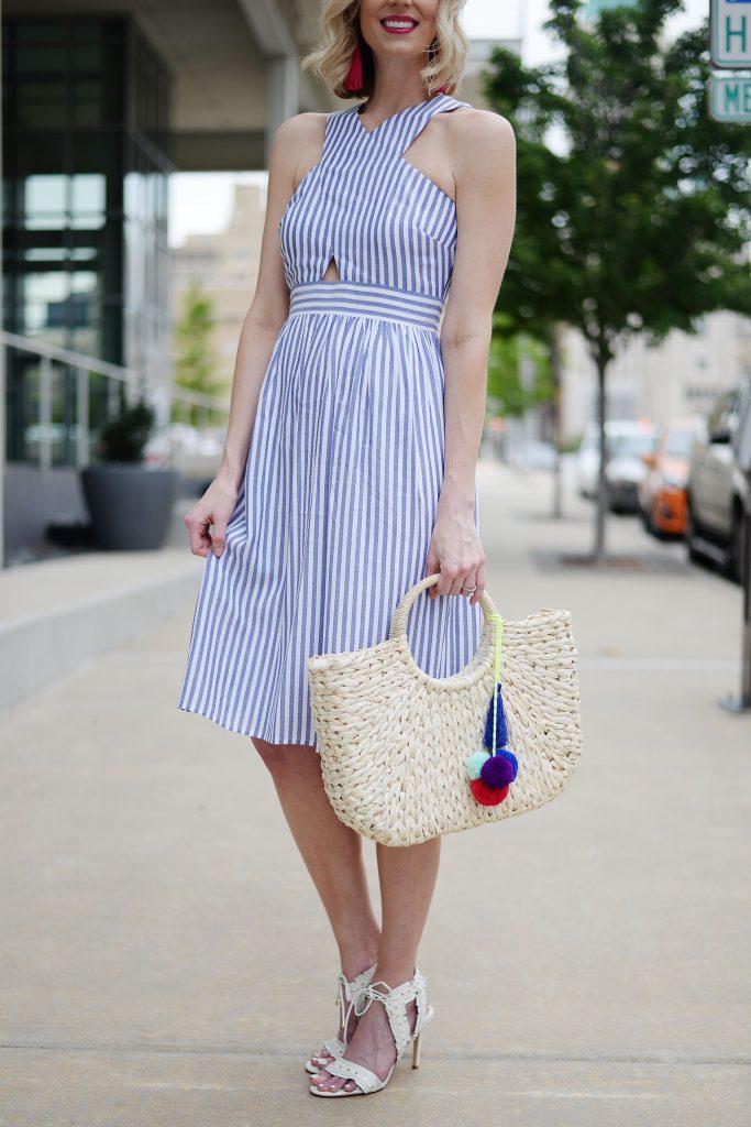 blue and white cutout dress