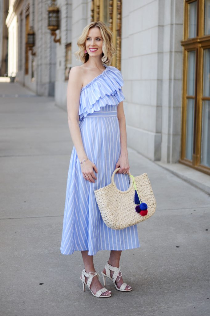 Kendra Scott shopping party and giveaway, one shoulder blue and white ruffle dress, straw bag, white heels