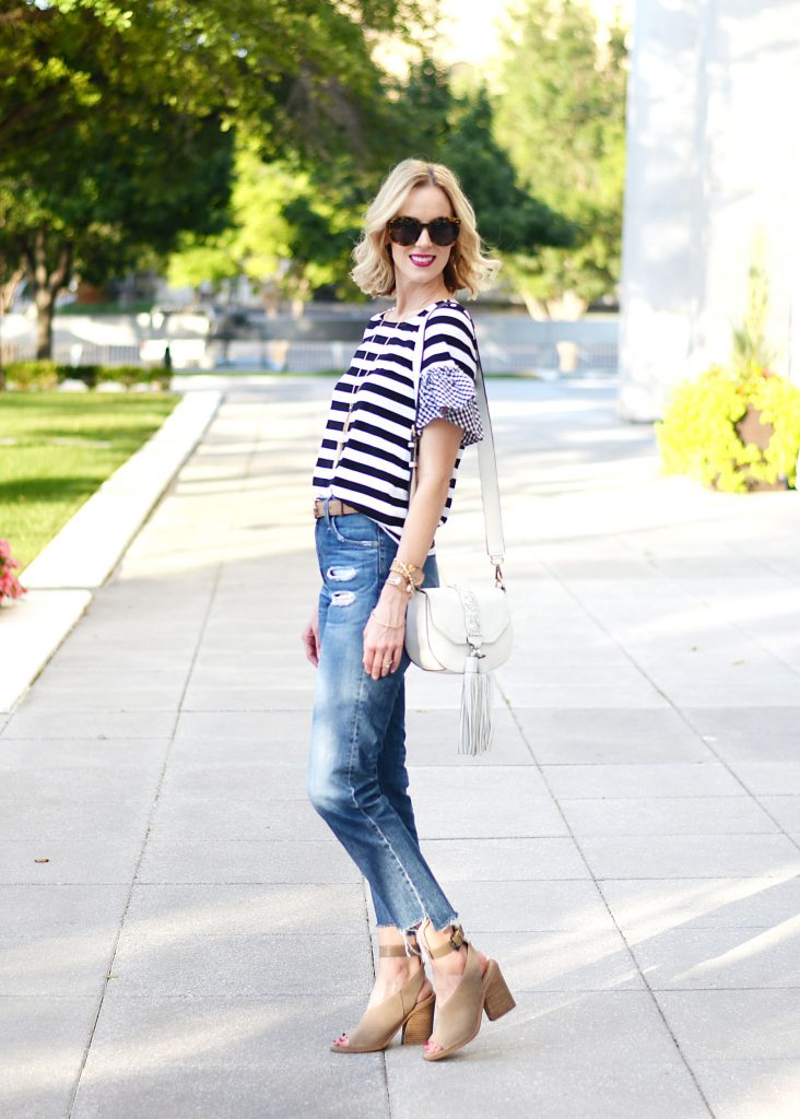 how to build a mom friendly wardrobe without sacrificing style, AG Phoebe straight leg jeans, striped t-shirt with gingham ruffle, Marc Fisher vida ankle strap sandal, gucci belt