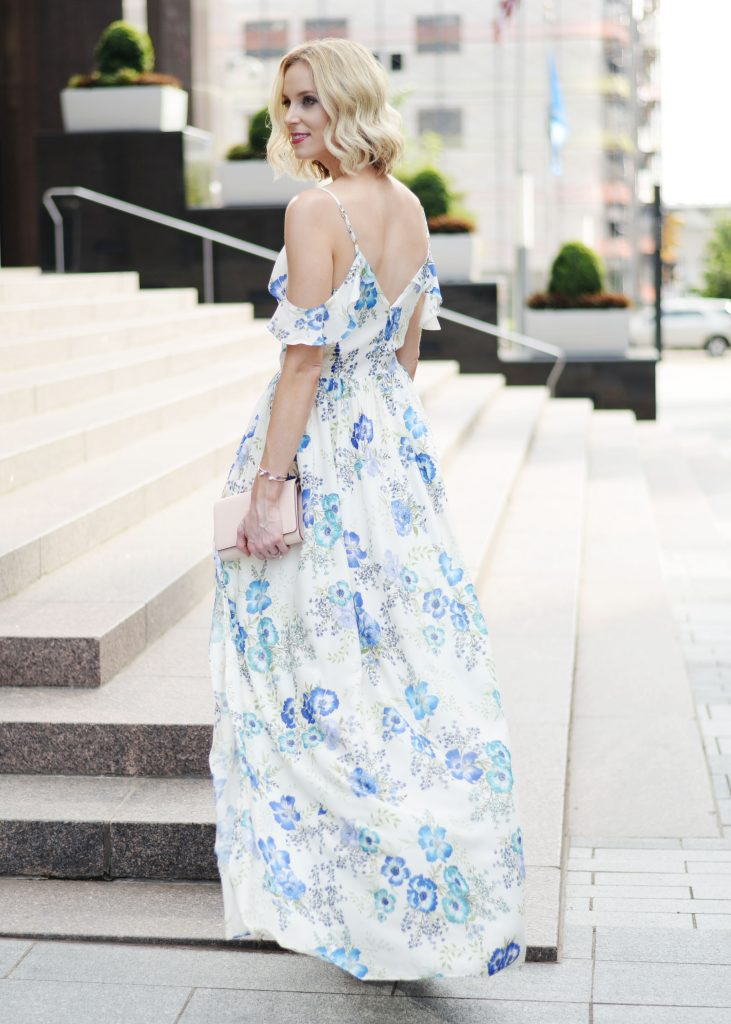 a dress worthy of date night, amanda uprichard wren floral dress, long floral maxi dress, date night outfit idea, blonde lob