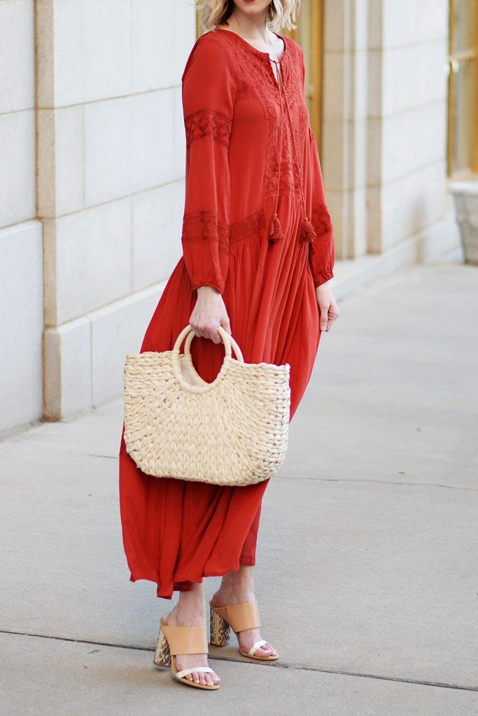 boho red maxi dress and straw bag