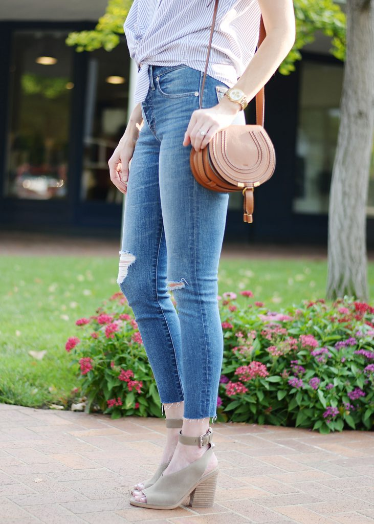 what shoes to wear with cropped jeans, ankle strap shoes and cropped jeans, how to style cropped jeans