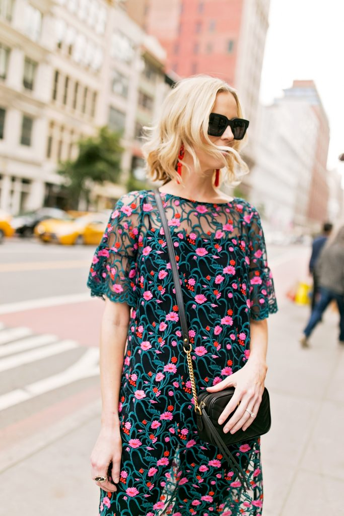 embroidered sheer side slit tunic