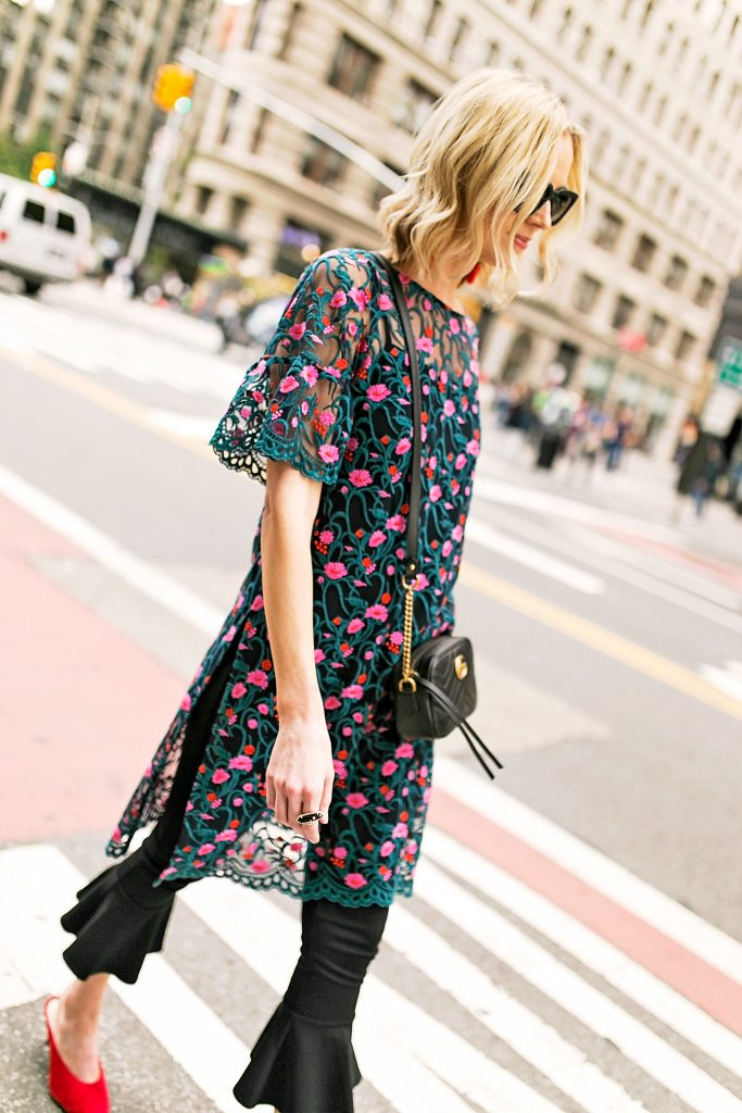 embroidered side slit tunic and crop flare pants, gucci marmont bag