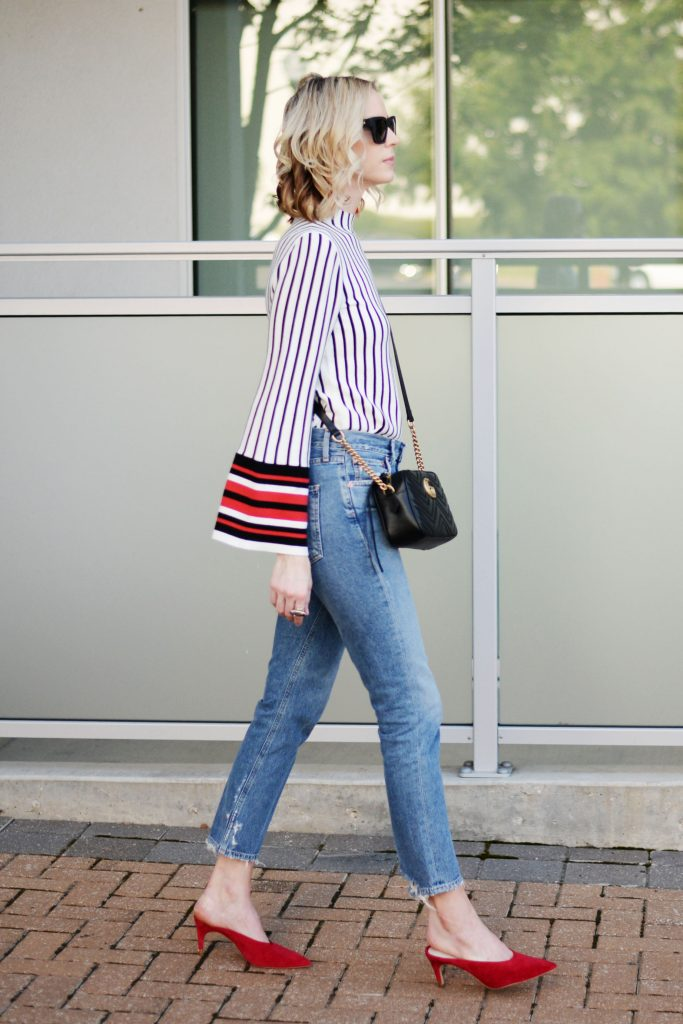 straight leg jeans with bell sleeve top, red heel mules, gucci bag