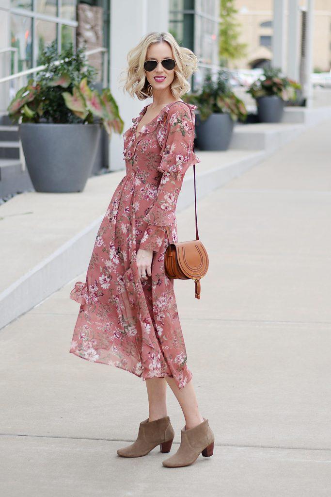 chloe mini marcie purse, ankle boots, fall floral midi dress with ruffles