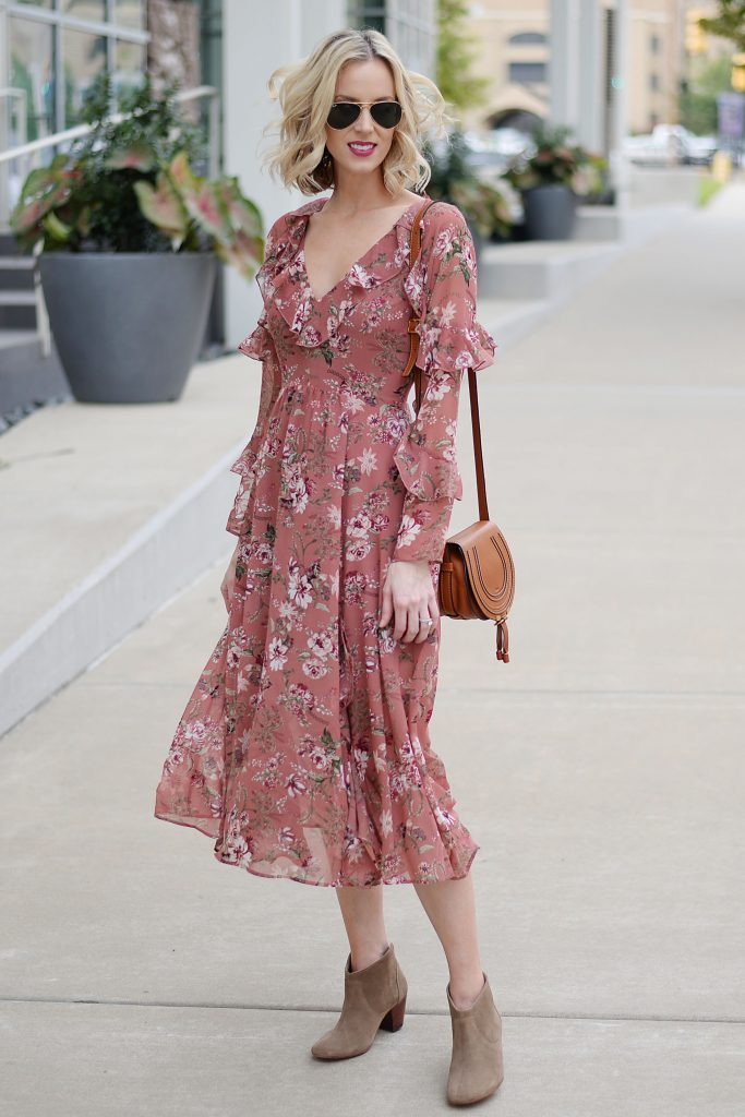 berry and blush pink floral dress for fall, ruffle hem dress, ankle boots