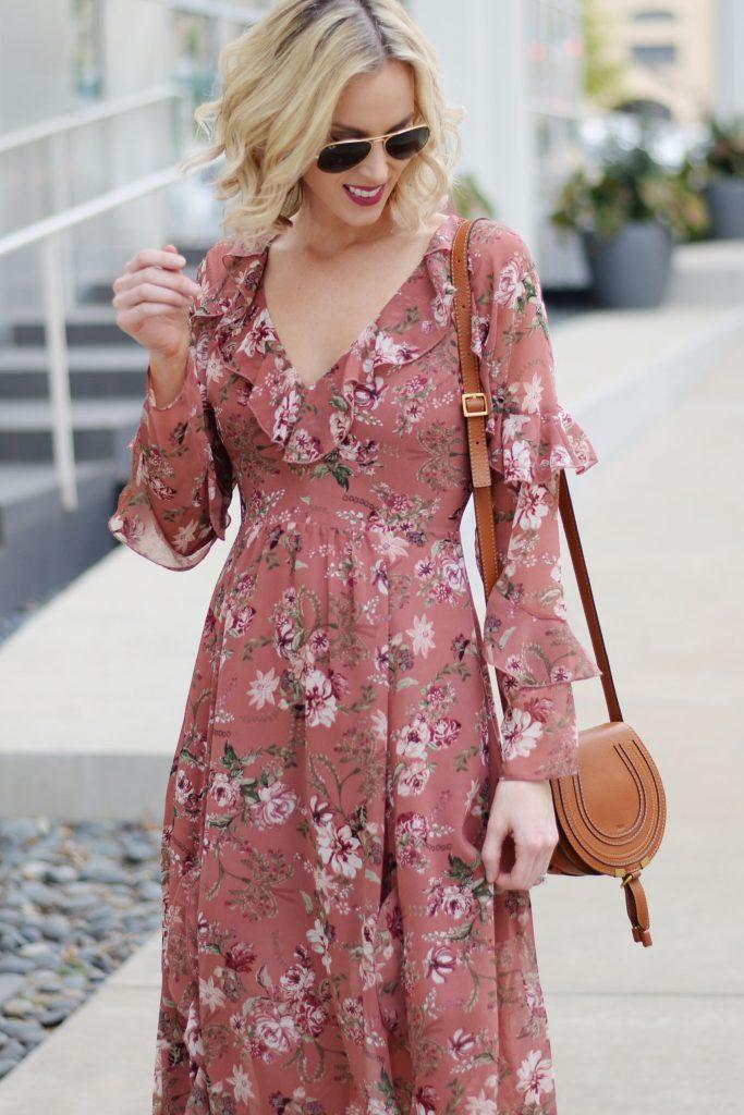 fall floral dress with ruffles, chloe mini marcie bag, ray-ban aviator sunglasses