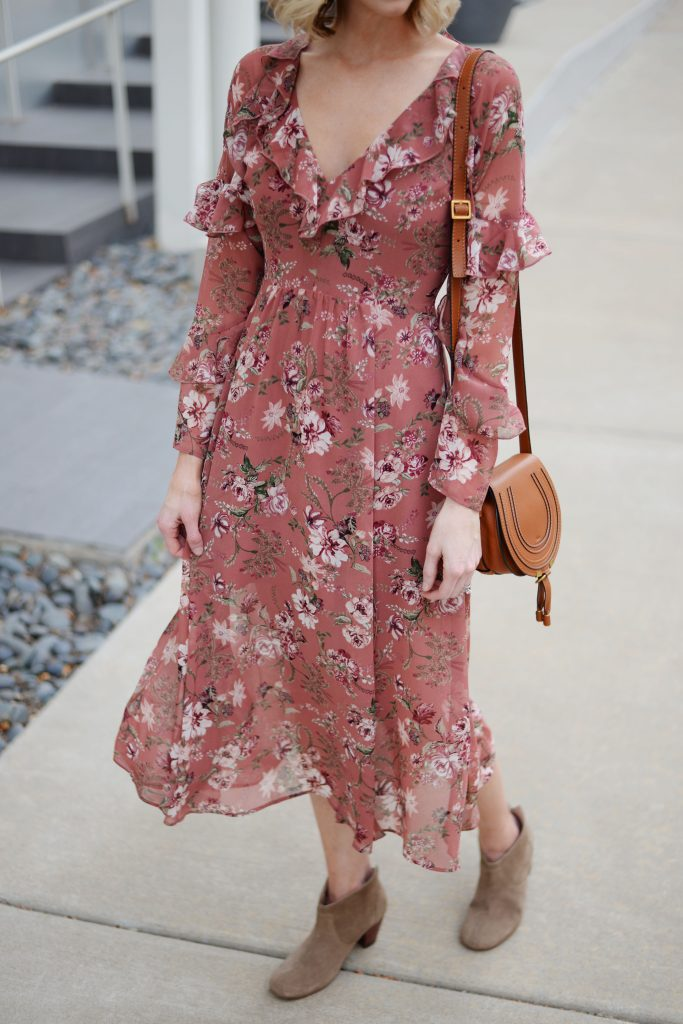fall floral dress with boots