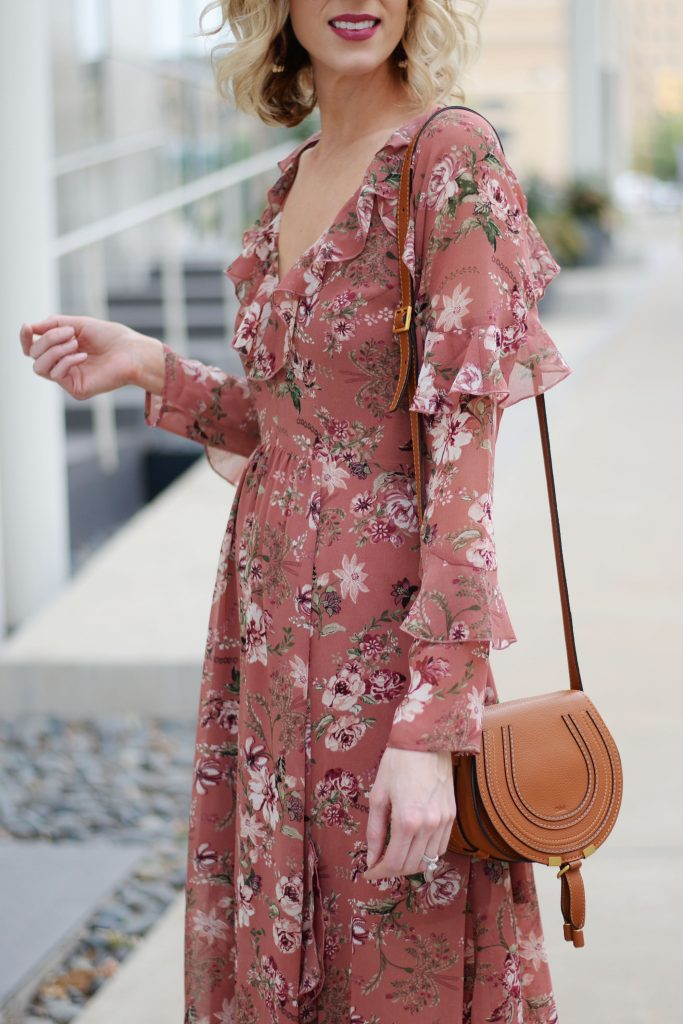 berry lipstick with berry colored floral dress, ruffle sleeves, chloe bag