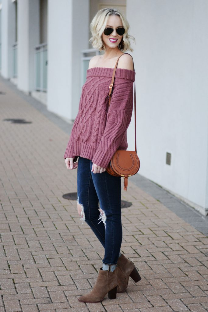 off the shoulder chunky knit sweater with busted knee jeans, chloe bag, and boots