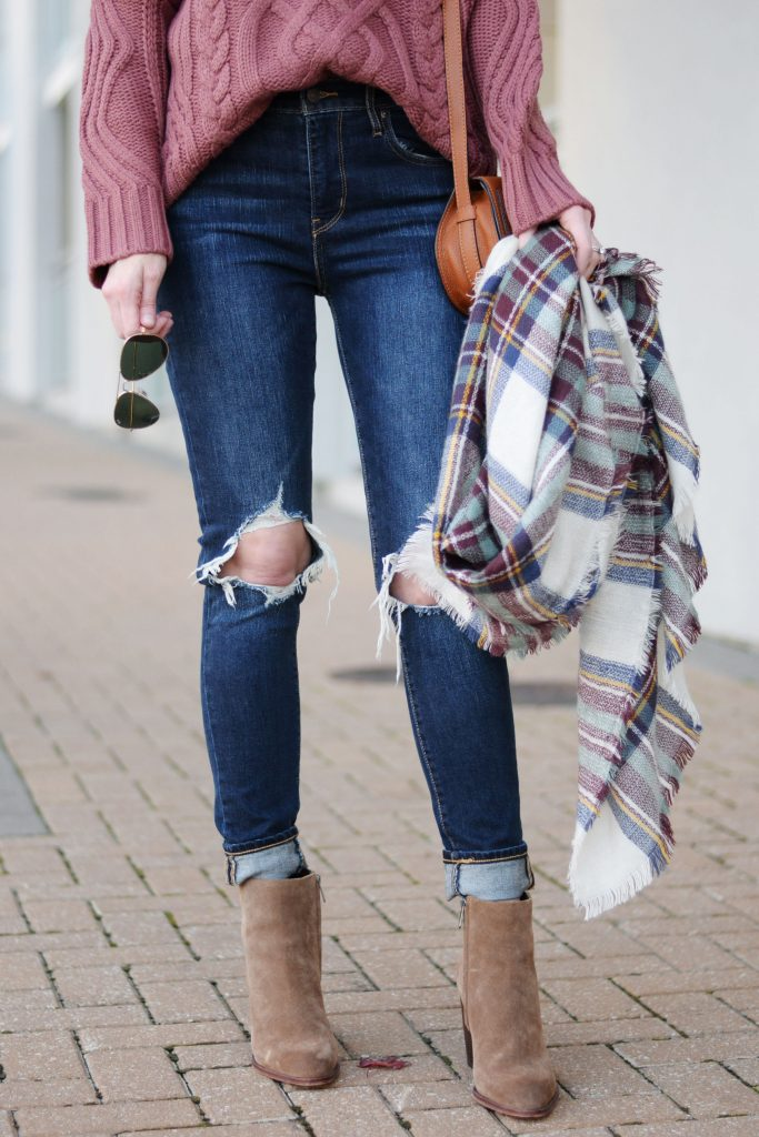 rolled jeans with ankle boots, tucked sweater, aviators, plaid blanket scarf, chloe bag