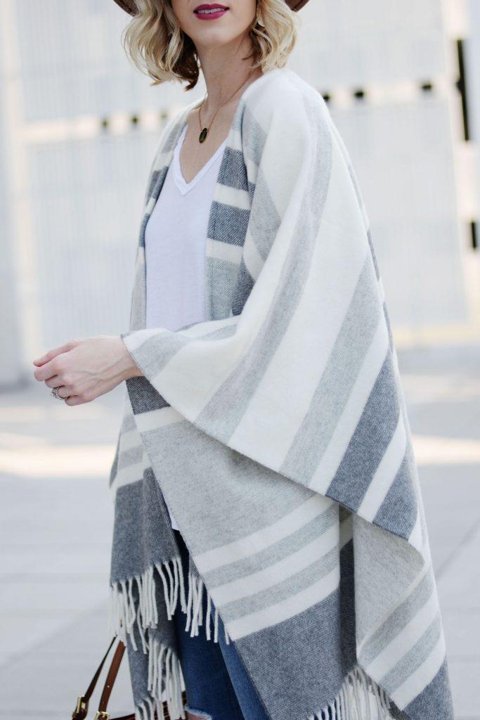 neutral striped grey poncho