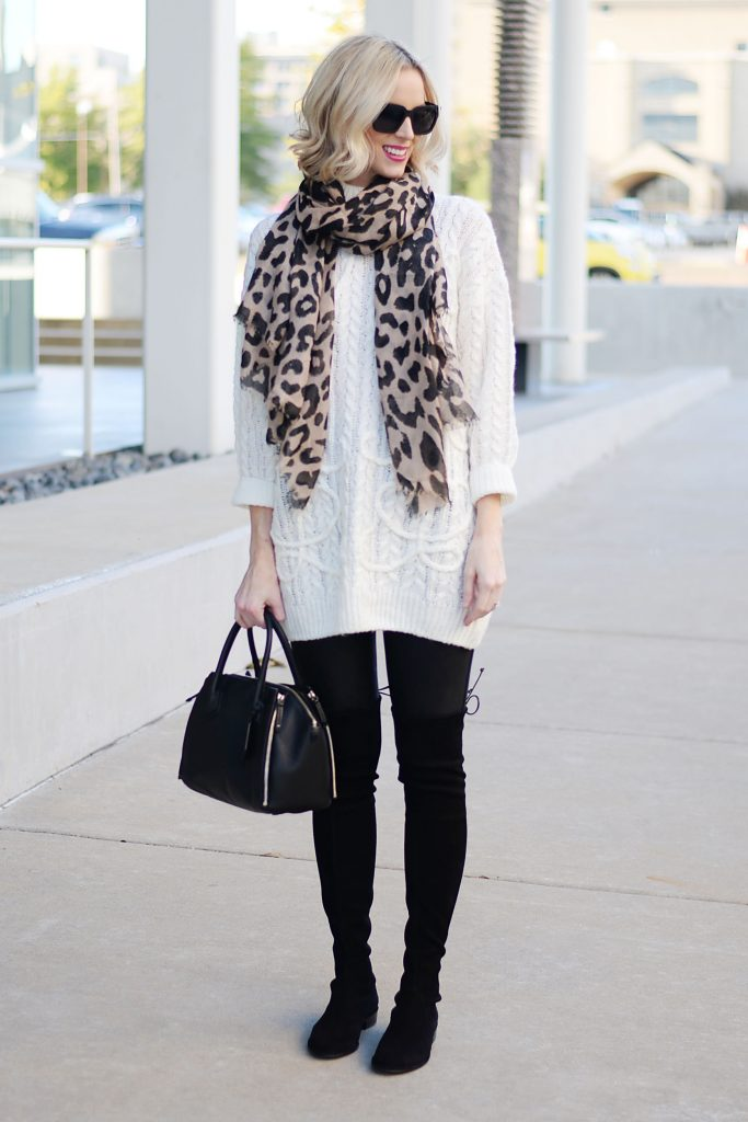 leopard scarf with cream tunic sweater, spanx leather leggings, stuart weitzman lowland boots