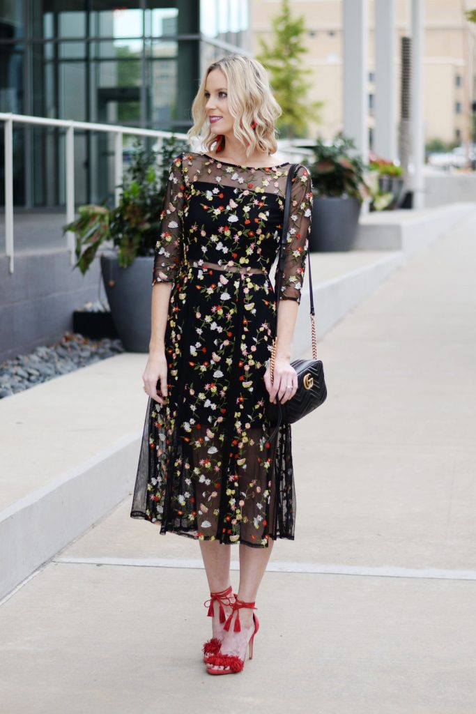 what to wear to a fall cocktail party, dark floral midi dress and heels, gucci marmont bag