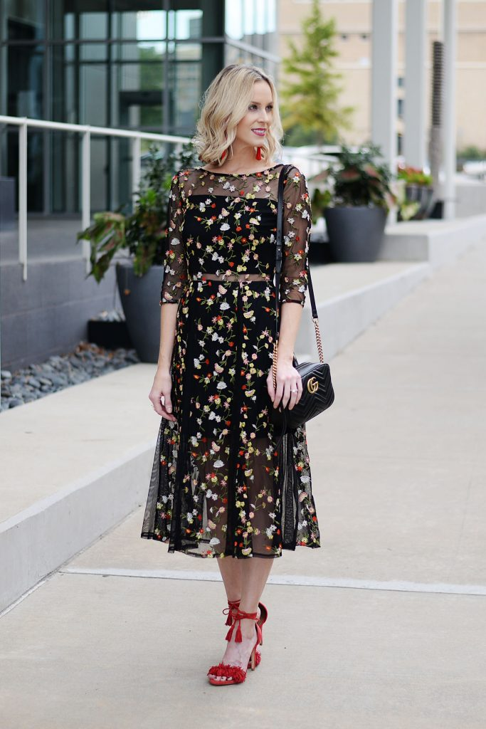 dress fall evening outfit idea, dark floral midi dress, embroidery, dress and heels