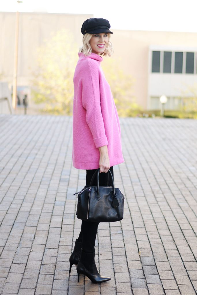 pink for fall, black jeans, black heeled boots