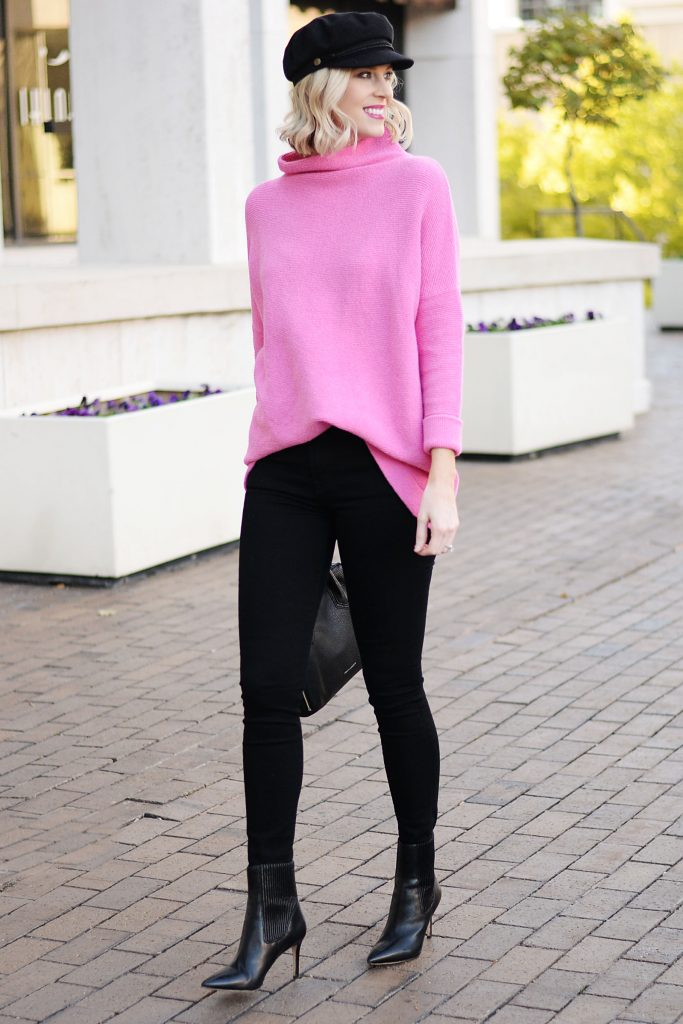mock neck slouchy sweater, black and pink