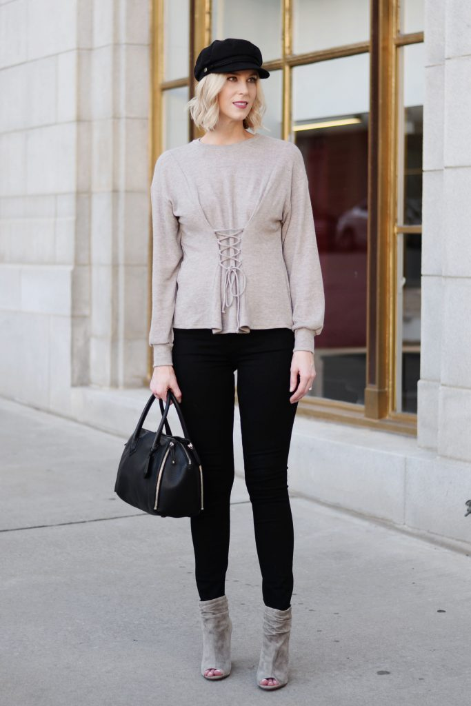 taupe corset longsleeve top, black jeans, taupe booties, fall outfit