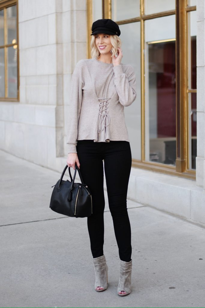 black and taupe fall outfit