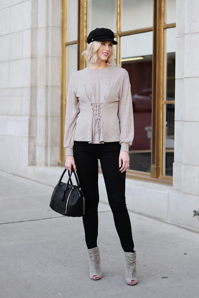 taupe slouchy ankle booties, corset style top, black jeans