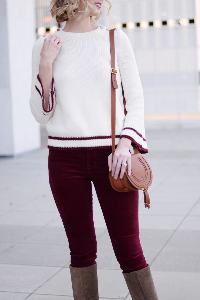 burgundy velvet pants with cream and burgundy sweater