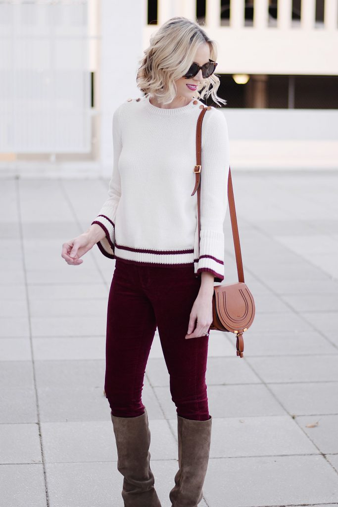velvet pants, sweater, and boots