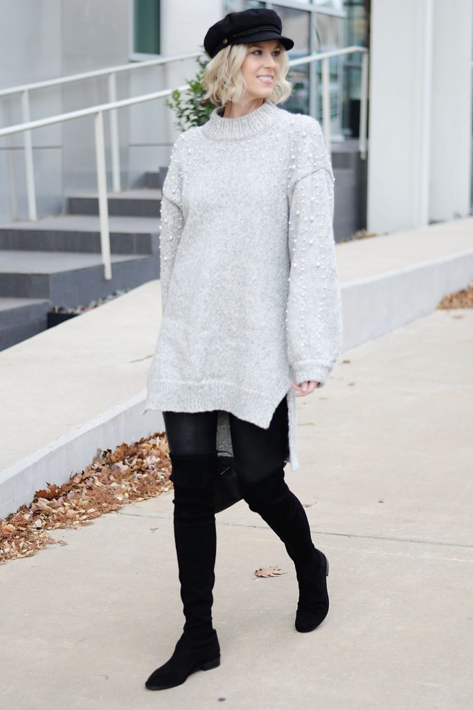 tunic sweater, faux leather leggings, and OTK boots