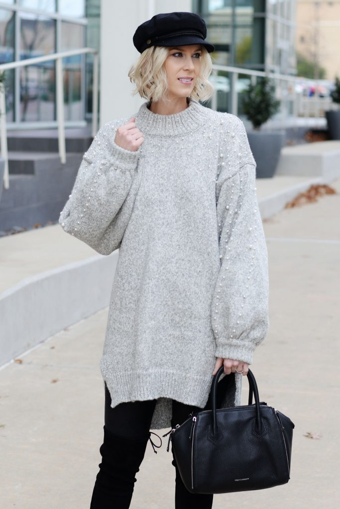 grey embellished pearl tunic sweater with engineer hat and OTK boots