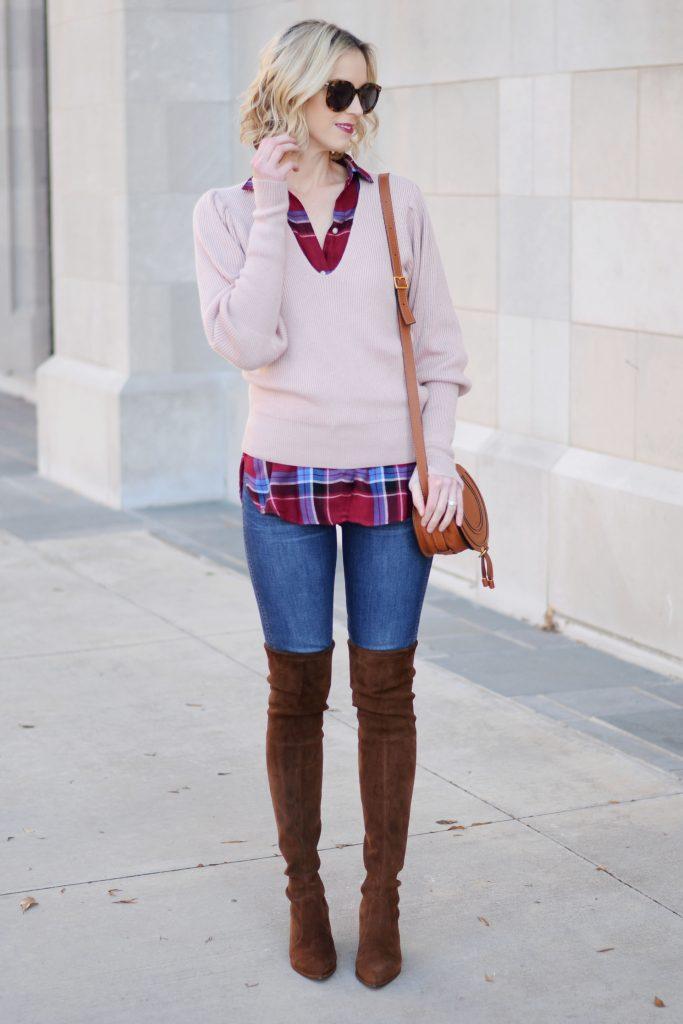 sweater of plaid shirt, jeans, otk boots