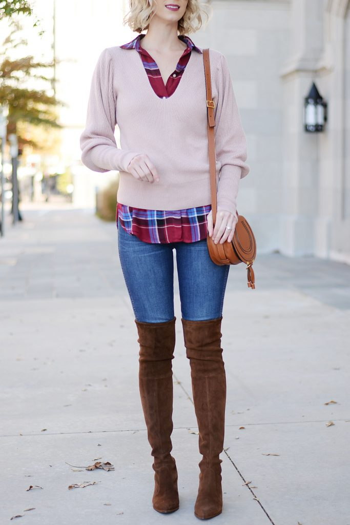how to layer a sweater and top