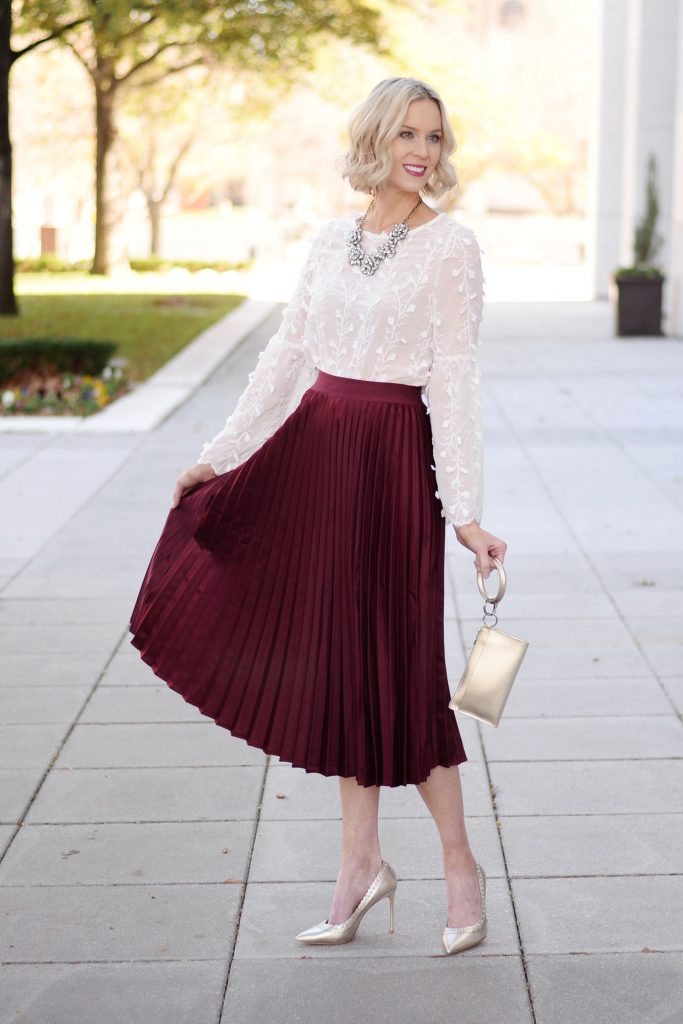 burgundy pleated midi skirt outfit, how to wear a midi skirt, post with 10 ways to wear a midi skirt