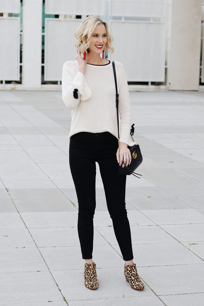 black and white outfit with statement accessories to make it special