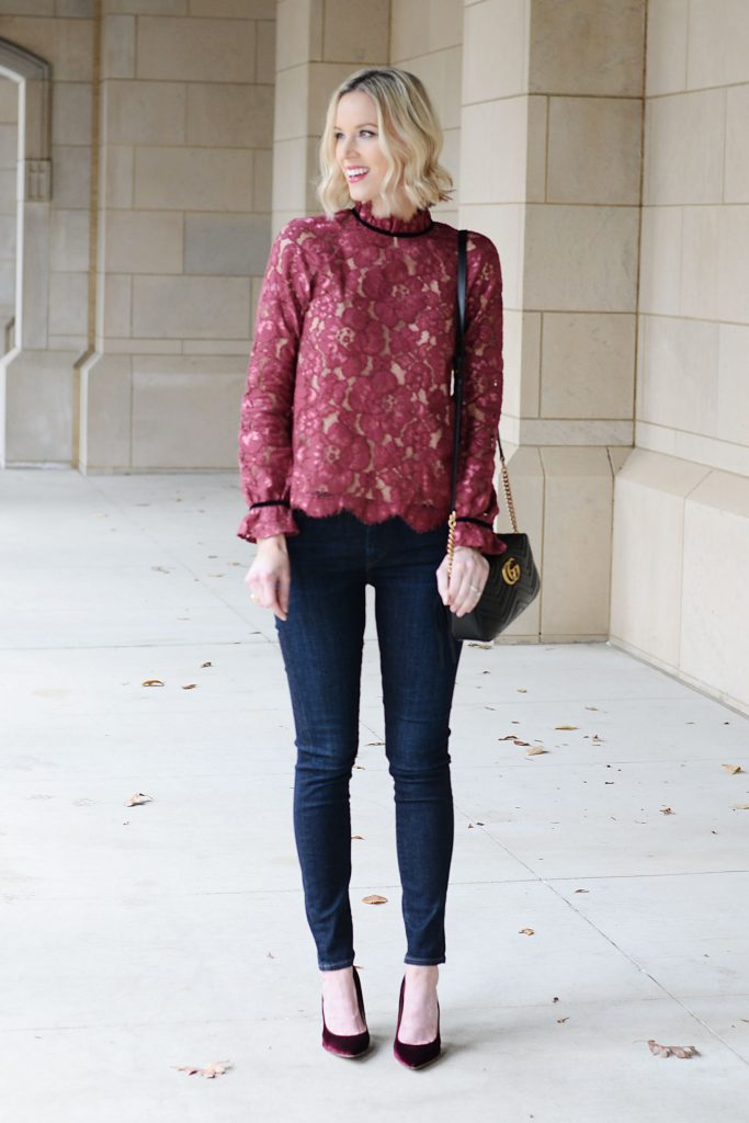 lace blouse with nude underlay and skinny jeans, pumps, gucci bag