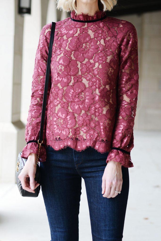 velvet tie back lace blouse